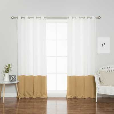 Best Home Fashion 96 in. L Polyester Oxford Wheat Colorblock Curtains in White (2-Pack) - Home Depot