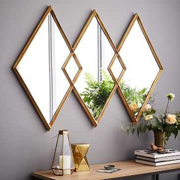 Overlapping Diamonds Mirror, Antique Brass - West Elm