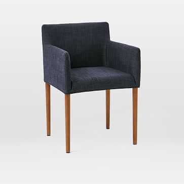 Ellis Arm Chair, Yarn Dyed Linen Weave, Indigo - West Elm
