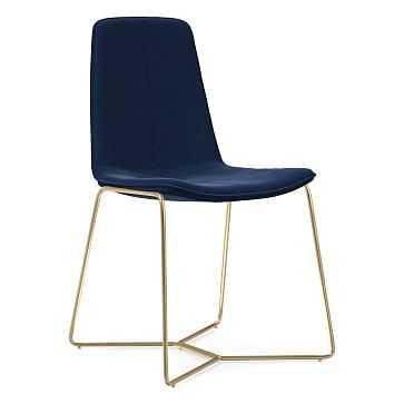 Slope Dining Chair, Antique Brass Leg, Performance Velvet, Ink Blue, Antique Brass - West Elm