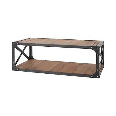 Sterling Industries Jose Coffee Table, Natural Woodtone, Bronze Iron - 7162-059 - eBay