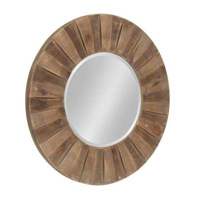 "Monteiro Large Round Wall Mirror 30"" diameter Rustic Brown - Home Depot"