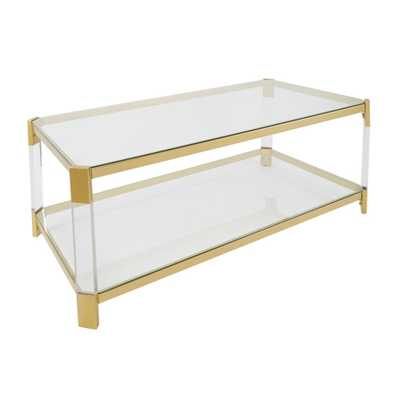 Huxley Clear Glass and Gold Coffee Table - Home Depot