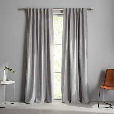 "Crossweave Curtain + Blackout Panel, Stone White, 48""X96"" - West Elm"