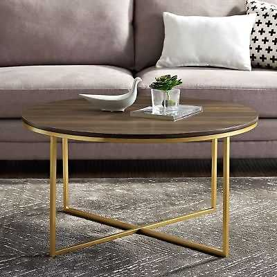 "36"" Round Coffee Table with X-Base - 36 x 36 x 19h: Chrome Finish, Metal Finish - eBay"