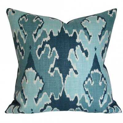 Bengal Bazaar Teal - 18x18 pillow cover / pattern on front, solid on back - Arianna Belle