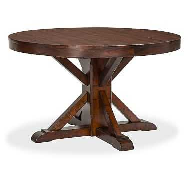 Benchwright Fixed Round Pedestal, Rustic Mahogany stain - Pottery Barn