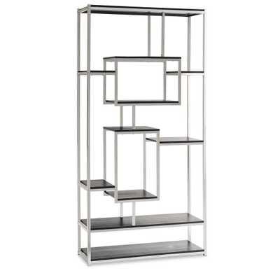 Harper Chrome (Grey) Modern Bookcase - Home Depot