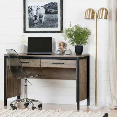 Munich Weathered Oak and Matte Black Desk - Home Depot