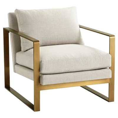Theodore Alexander Modern Classic Bower Club Gold Metal Living Room Chair - Kathy Kuo Home