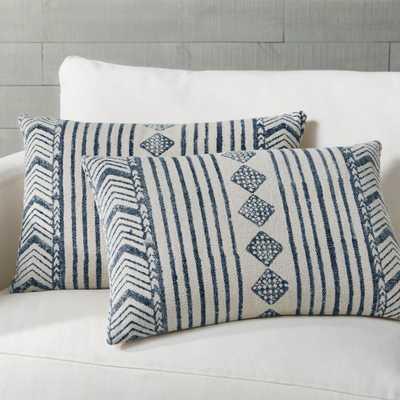 "Marek Faded Blue Geometric Lumbar Pillows 24""x16"", Set of 2 - Crate and Barrel"