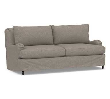 "Carlisle Slipcovered Sofa 80"", Polyester Wrapped Cushions, Performance Chateau Basketweave Light Gray - Pottery Barn"