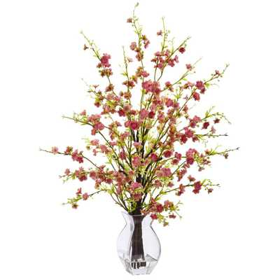 26 in. Cherry Blossom in Glass Vase in Pink - Home Depot