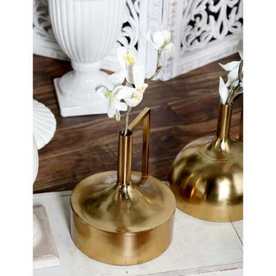11 in. Gold Iron Decorative Vase with Large Cylindrical Body, Tall Neck and Inverted L Handle - Home Depot