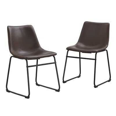 Walker Edison Faux Leather Dining Chair in Brown  (Set of 2) - eBay