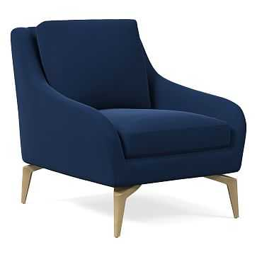 Alto Chair, Astor Velvet, Ink Blue, Blackened Brass - West Elm