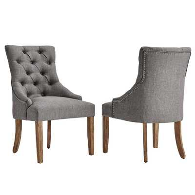 Marjorie Grey Linen Button Tufted Dining Chair (Set of 2) - Home Depot