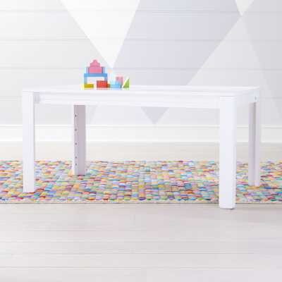 """Large White Adjustable Kids Table w/ 23"""" Legs - Crate and Barrel"""