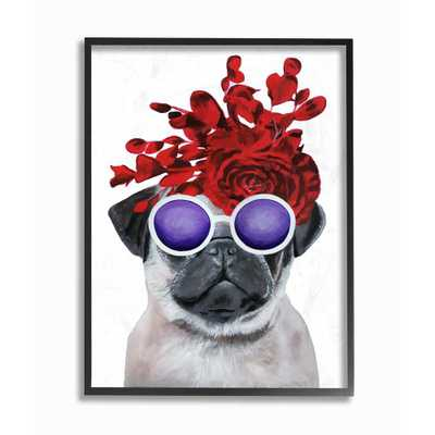 """The Stupell Home Decor Collection 11 in. x 14 in. """"Pug Dog With Flower Hat and Purple Glasses"""" by Coco de Paris Framed Wall Art, Multi-Colored - Home Depot"""