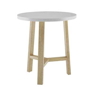20 in. White Marble and Light Oak Round Side Table, White/Light Oak - Home Depot