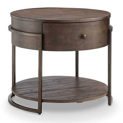 Magnussen Home Kirkwood Rustic Dark Whiskey Reclaimed Wood Round Accent Table - eBay