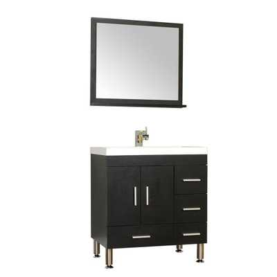 Alya Bath Ripley 29.37 in. W x 18.75 in. D x 32.87 in. H Vanity in Black with Acrylic Vanity Top in White with White Basin - Home Depot