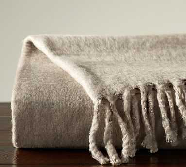 "Solid Faux Mohair Oversized Throw, 55x80"", Taupe - Pottery Barn"