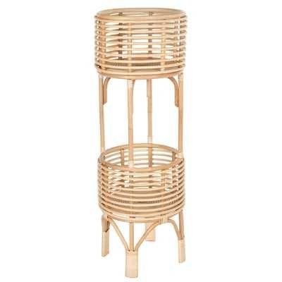 "Andres 36"" H x 12"" L x 12"" D Rattan Indoor Plant Stand, 10 inches, Natural - Wayfair"