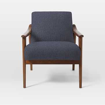 Mid-Century Show Wood Upholstered Chair, Pebble Weave, Aegean Blue - West Elm