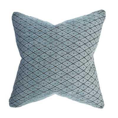 Blue Lattice Flocked Designer Throw Pillow, Blues - Home Depot