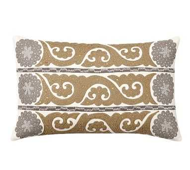 "Wilhelmina Embroidered Suzani Lumbar Pillow Cover, 16x26"", Neutral - Pottery Barn"