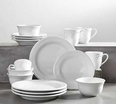 Emma Dinnerware 16 Piece Set with Cereal Bowl - True White - Pottery Barn