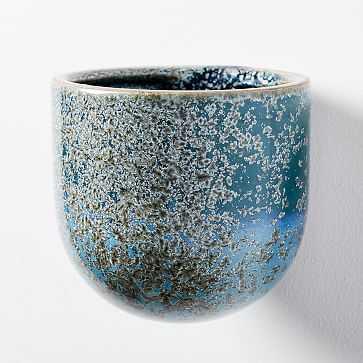 Ceramic Wallscape Planters, Reactive Glaze, Blue, Medium - West Elm