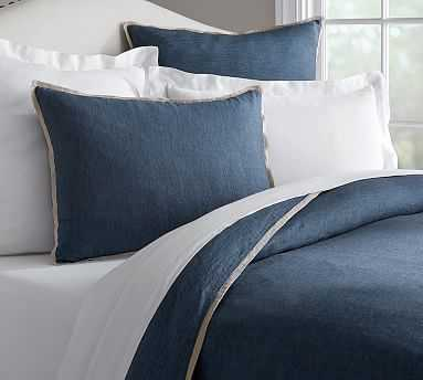 Belgian Flax Linen Contrast Flange Duvet Cover, Full/Queen, Midnight/Natural - Pottery Barn