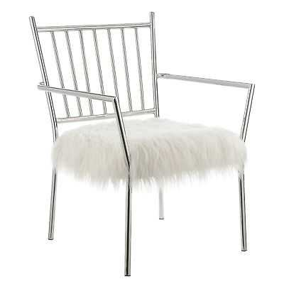 Contemporary White and Chrome Accent Chair - eBay