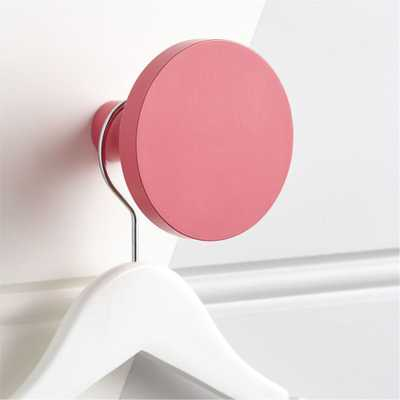 Round Pink Wall Knob - Crate and Barrel