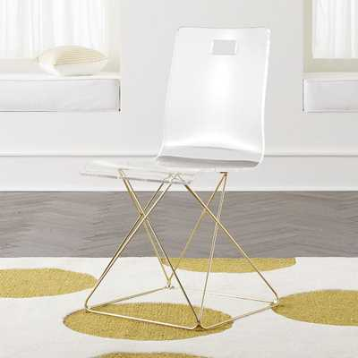Kids Now You See It Acrylic Desk Chair with Gold Base - Crate and Barrel