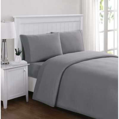 Everyday Solid Jersey Grey Full Sheet Set - Home Depot