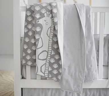 Giraffe Knit Sherpa Baby Blanket, Stroller Blanket, Gray - Pottery Barn Kids