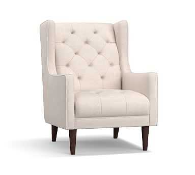 Asher Upholstered Armchair, Polyester Wrapped Cushions, Brushed Crossweave Natural - Pottery Barn