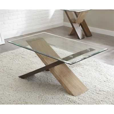 Steve Silver Tasha Glass Top Coffee Table in Natural - eBay