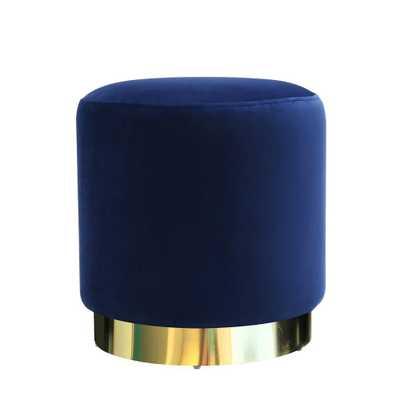 Siri Blue Velvet Ottoman - Home Depot