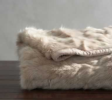 "Faux Fur Throw, 50 x 60"", Mini Ruched - Pottery Barn"