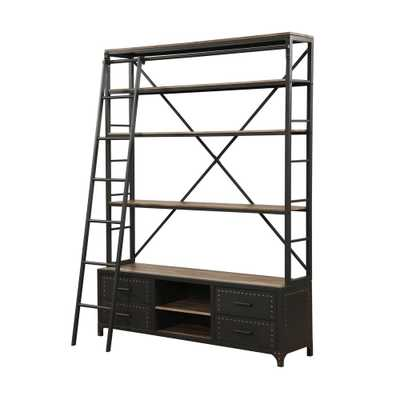 Actaki Etagere Sandy Gray Bookcase with Ladder - Home Depot