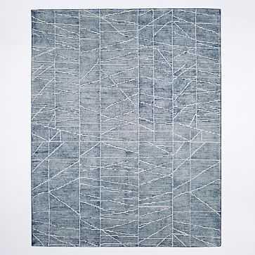 Erased Lines Wool Rug, 9'x12', Blue Lagoon - West Elm