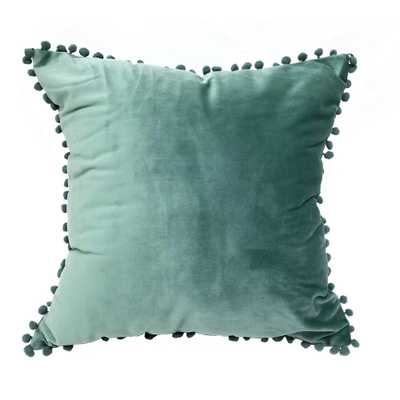 Pompom Dust Teal Standard Decorative Pillow - Home Depot