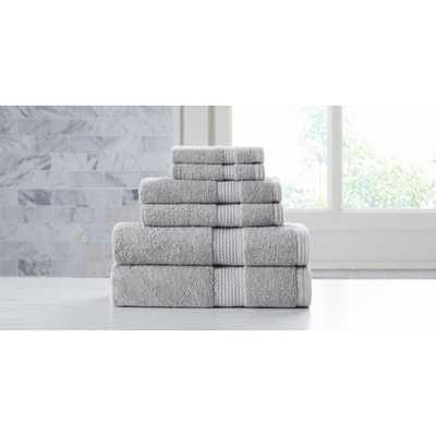 Extravagant 6-Piece Grey Slivadur Antibacterial Material Towel Set, Gray - Home Depot