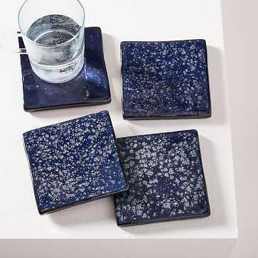 Reactive Glaze Coasters, Set of 4, Navy/Black - West Elm