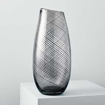 Optic Stripes Vase, Extra Large, Clear/Black - West Elm