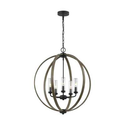 Feiss Allier 5-Light Weathered Oak Wood/Antique Forged Iron Chandelier with Clear Glass Shades - Home Depot